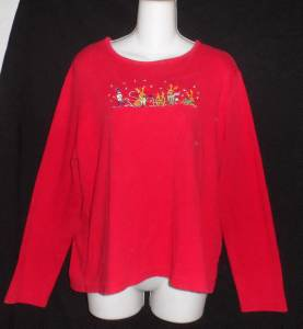 White Stag Extra Large XL 16 18 Red Christmas Elf Reindeer LS 100% Cotton Top