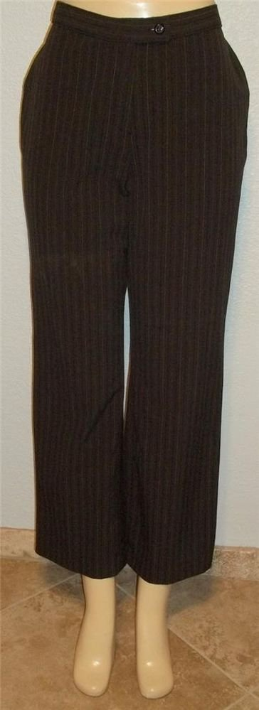 Worthington Petite Stretch 10P PM Medium Brown Pin Striped Career Pants