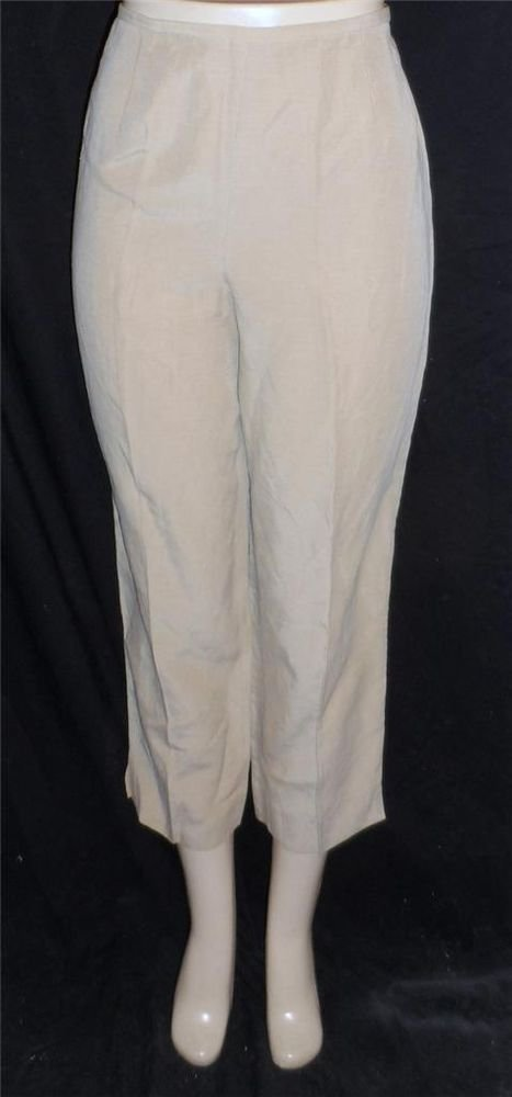 Jones New York Country 10 Medium Linen Blend Beige Taupe Cropped Dress Pants