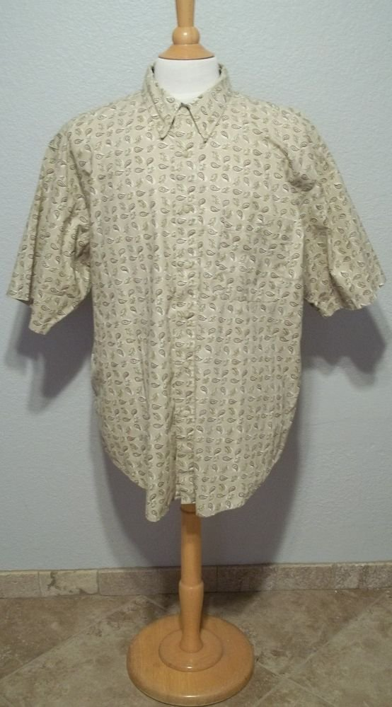 Bugle Boy Company XXL 2XL Beige Cotton Paisley Button Down Men's Casual Shirt