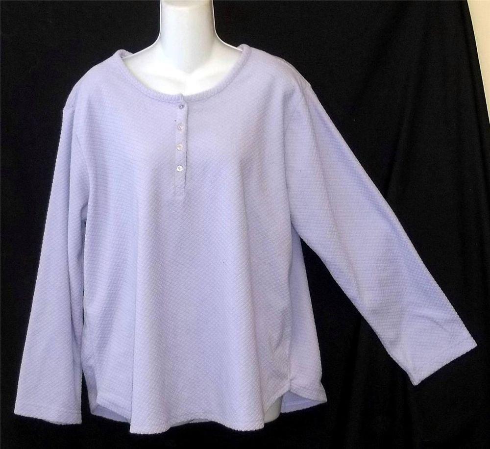 XL 16 18 Oscar De La Renta Long Sleeve Pale Lavender Sleepwear Pullover Top