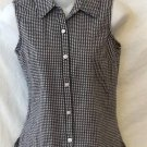 Small 4 6 Villager Sport Black White Checked Collared Sleeveless Casual Blouse