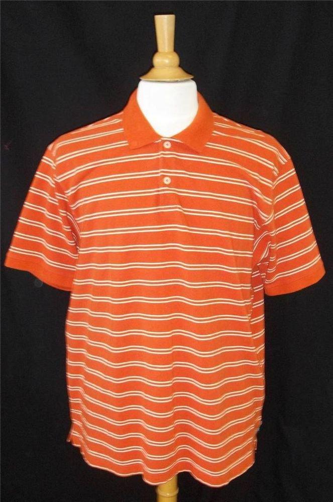 Eddie Bauer Men's Orange White Striped 100% Cotton SS Polo Golf Collared Shirt