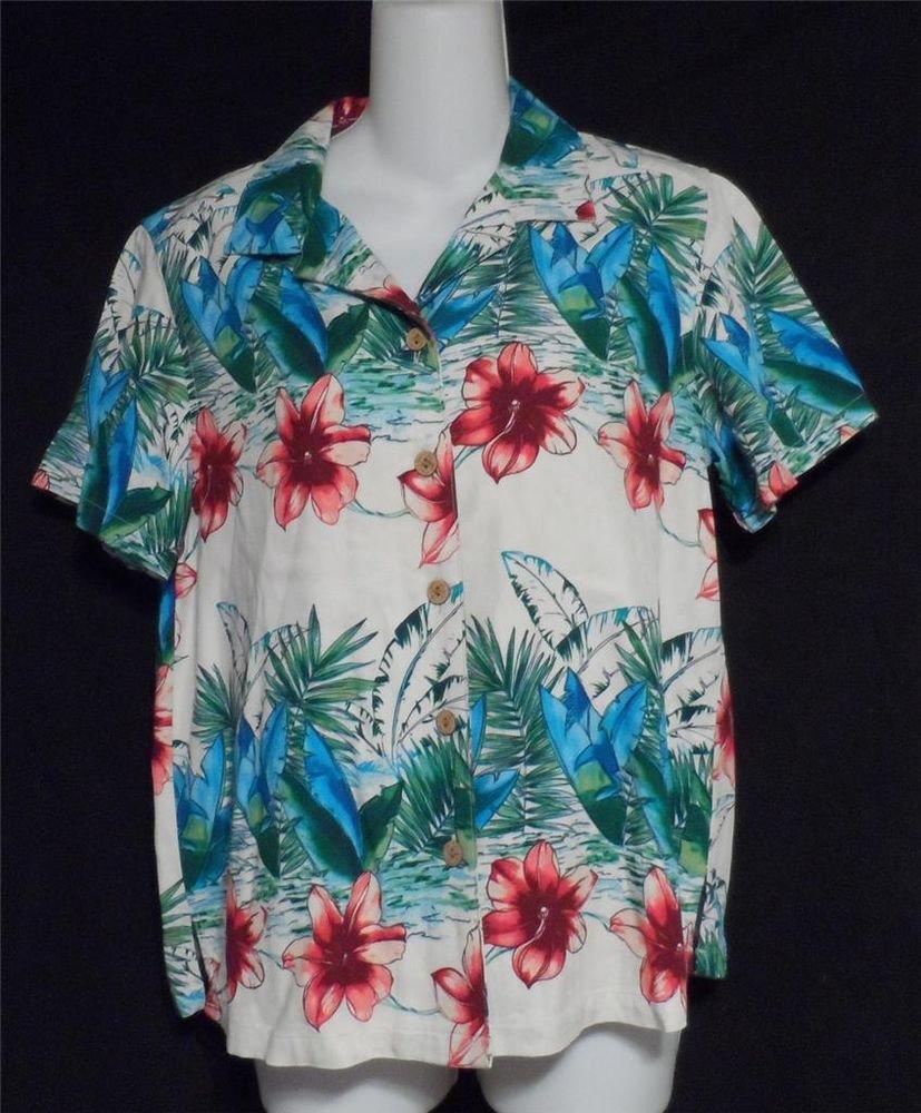 Karen Scott Sport Medium 8 10 Hawaiian Floral SS Rayon Camp Shirt Blouse Top