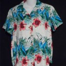 Karen Scott Sport Medium 8 10 Hawaiian Floral SS Rayon Camp Shirt Blouse Top