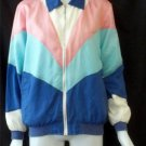 Blair Small 4 6 Blue White Pink 90's Style Silk Blend Lined Jacket Windbreaker