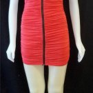 Juniors Small 3 5 Mystic Coral Bodycon Ruched Clubwear Mini Cap Sleeve Dress