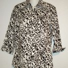 Liz Claiborne Small 4 6 Black White Pattern 3/4 Sleeves 100% Cotton Blouse Top