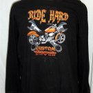 Men's 3XL 54 56 Ride Hard Custom Motorcycle Black LS 100% Cotton Casual Shirt