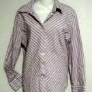 George Stretch XL 16 18 Long Sleeve Lavender Striped Button Front Blouse Shirt