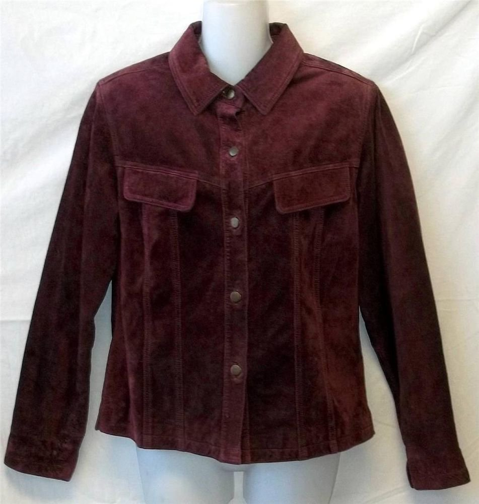 Atelier Small 4 6 Plum Leather Suede Fully Lined Collared Button Front Jacket