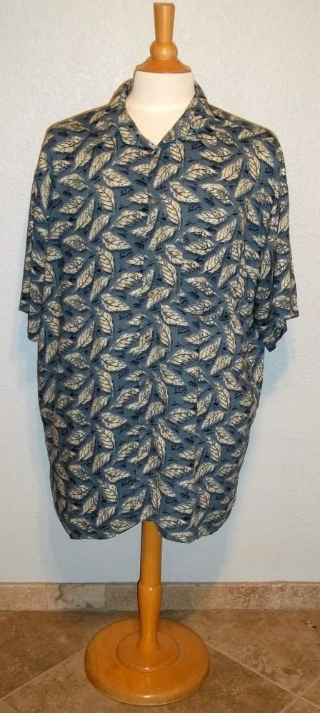 J. Ferrar XLXT Blue Taupe White Leaf Button Down Men's Casual Shirt 100% Rayon