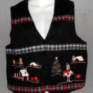 Nutcracker Large 12 14 Black Christmas Tree Reindeer V Neck Lined Cotton Vest