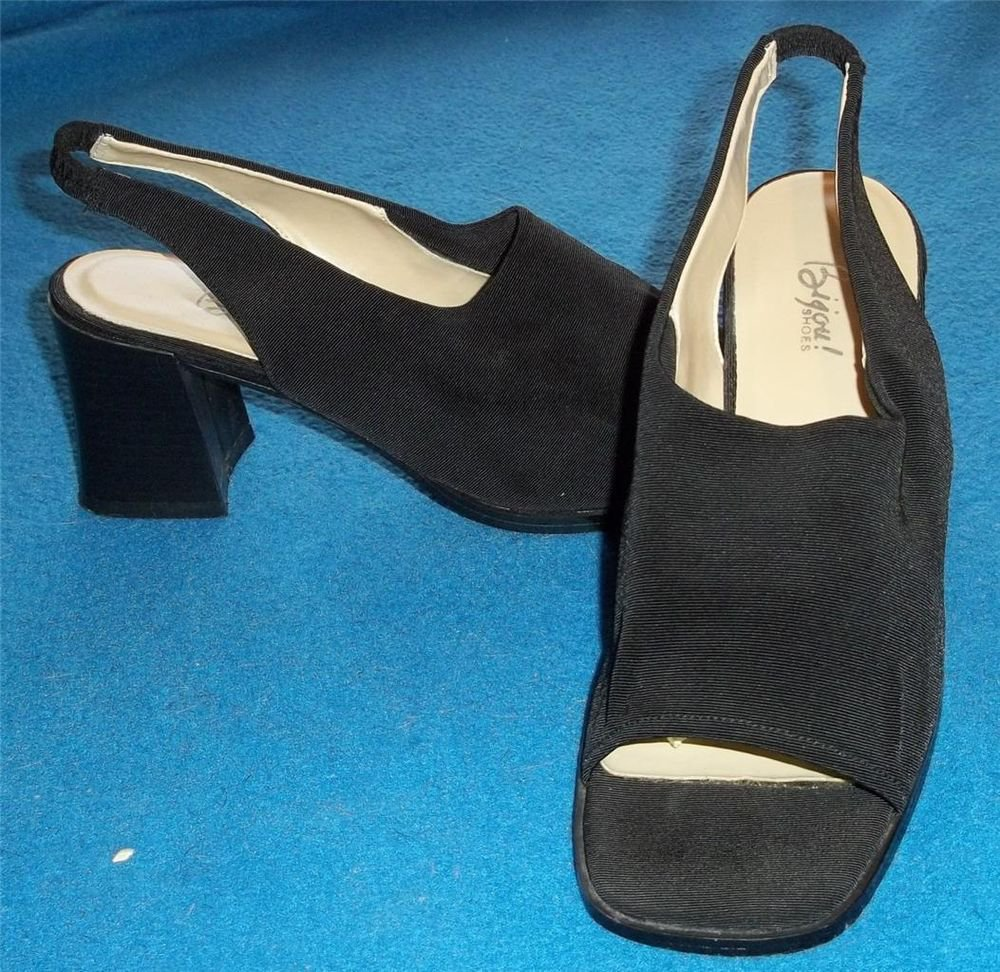 "Bijou Shoes 8 Medium B Black Faille Chunk 2-1/2"" Heel Sling Back Open Toe"