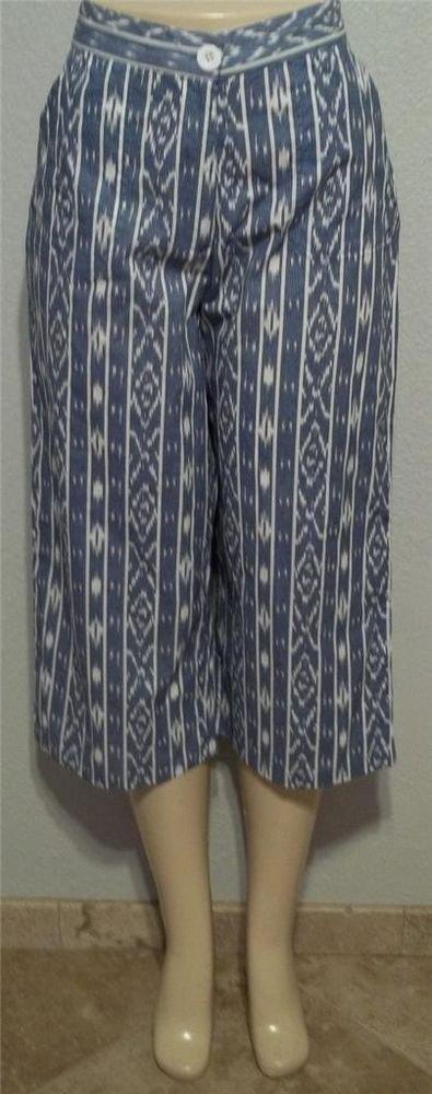 NEW Sara Studio Petite PL 12P 14P PXL 16P 18P  Blue White Cropped Capri Pants