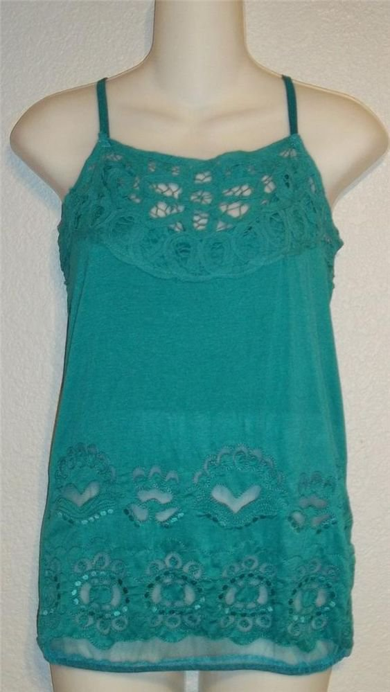 NEW Simply Irresistible  Small 4 6 Large 12 14 Teal Cami Dressy Tank Top