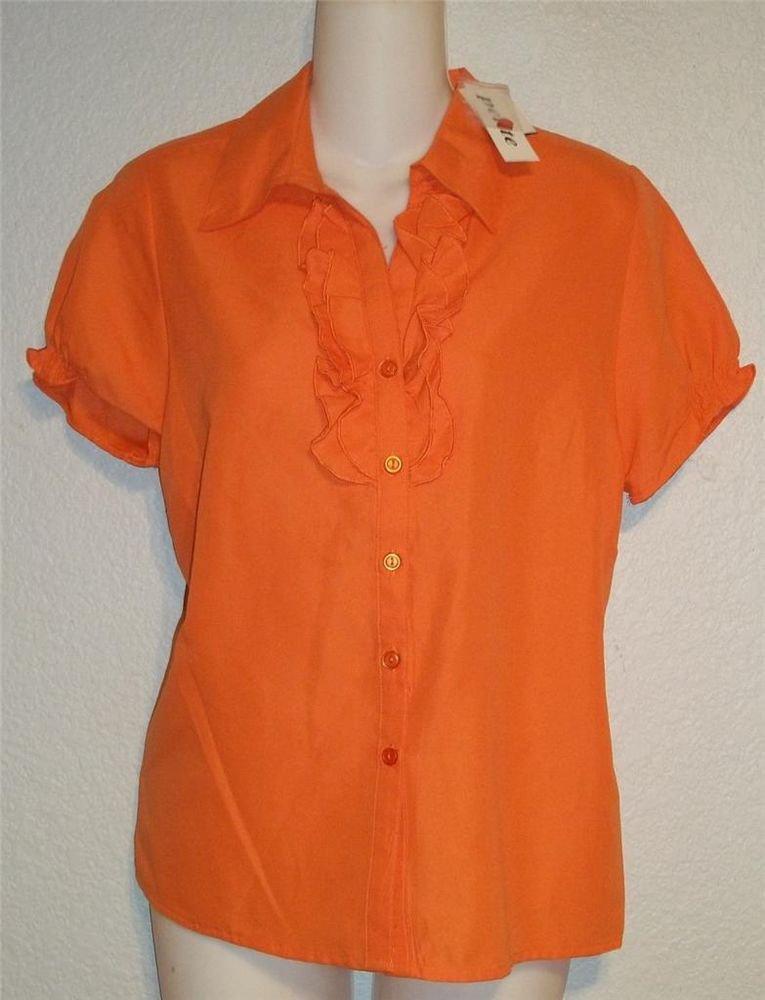 NEW Joanna Medium PM Large PL Orange Short Sleeve Soft Career Blouse