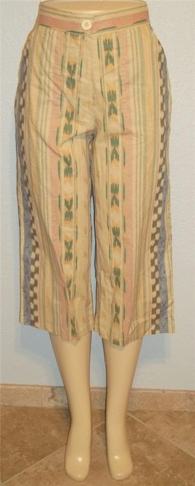 New Sara Studio Petite PL 12P 14P PXL 16P 18P Cotton Southwestern Cropped Pants