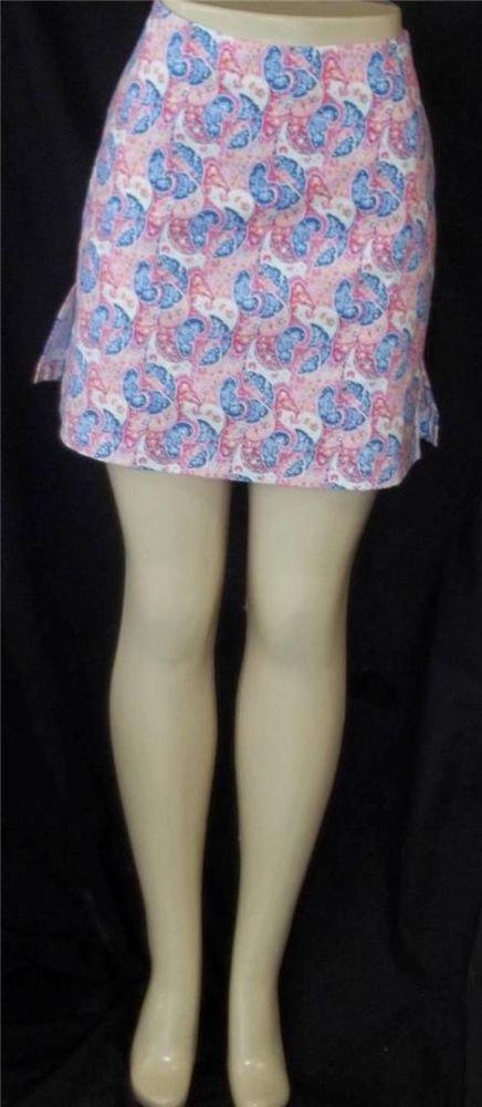 NEW Golftini Misses 14 Large White Pink Blue Paisley Walking Golf Skort Shorts