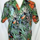 bubi's Mens Vintage Large Black Green Hawaiian Floral SS Camp Shirt Button Front