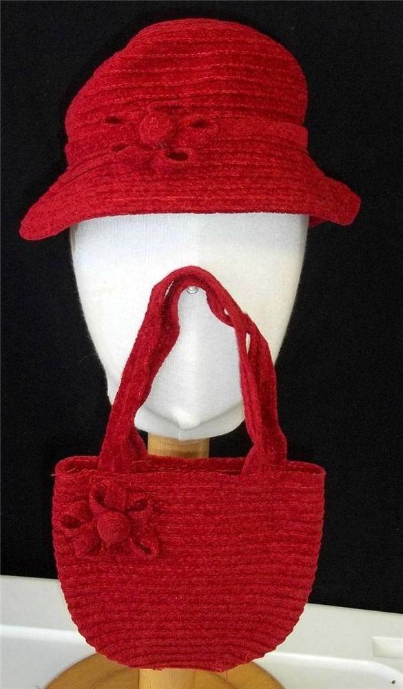 Toddler Girls Small 2 4 Red Chenille Velvety Sun Hat Matching Open Purse Handbag