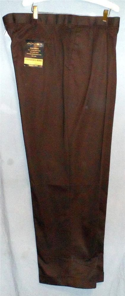 NWT A[X]IST Axist Dark Brown Corporate Khaki Pleated Cuff Dress Pants 42W x 32L