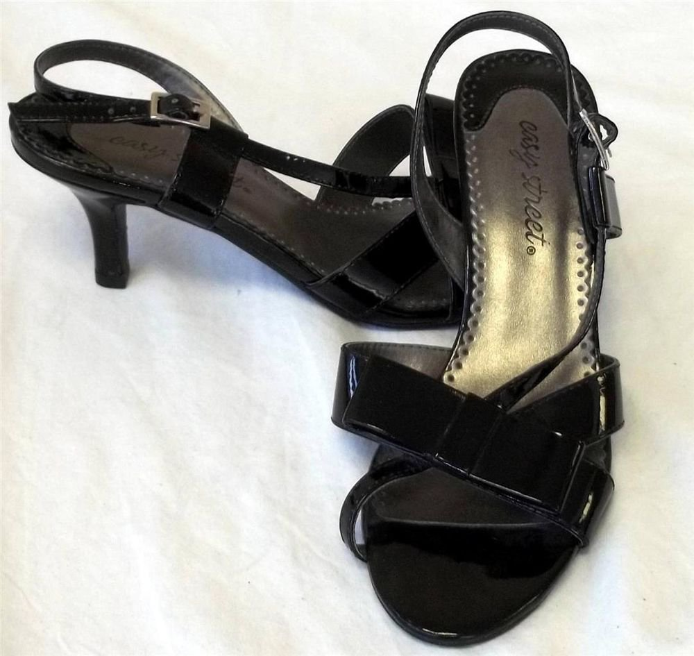 "Easy Street 6M Medium Black Patent Sling Back Open Toe Flat Bow 2-1/2"" Heel Shoe"