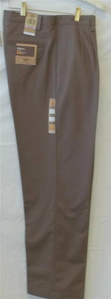 NEW Dockers D4 Brown 34W x 34L True Chino Relaxed Fit Flat Front Pants