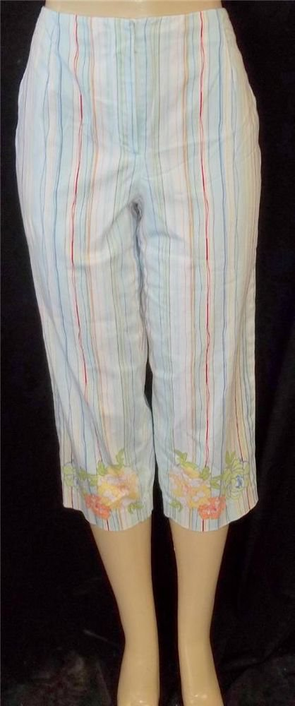 Talbots Large 12 Vertical Striped Hawaiin Floral Multicolor Cropped Capris Pants
