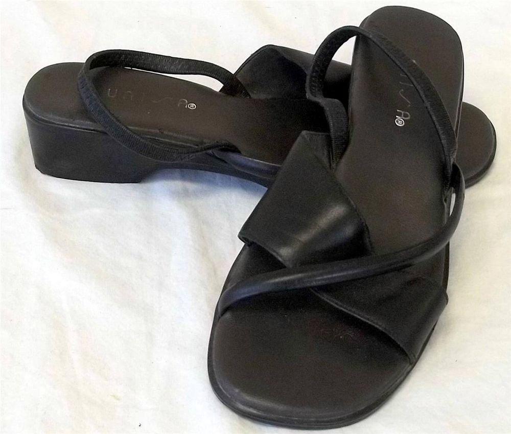 "Unisa 5-1/2 M Leather Black Elastic Back Strap Open Toe 1-1/2"" Heel Sandal Shoes"