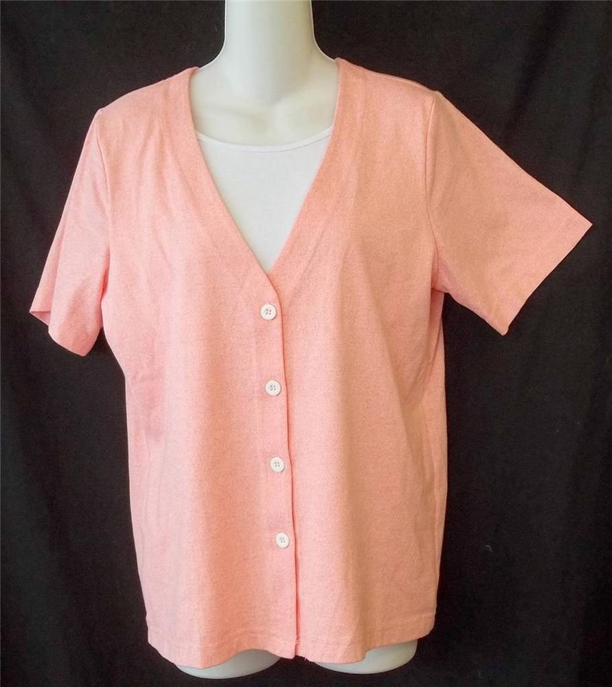 NEW Cathy Daniels Small 4 6 Pink Coral Button Front Faux Undershirt Blouse Top