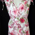 NEW 2X 18W 20W White Pink Green Floral Empire Sleeveless Cotton Blend Top Blouse