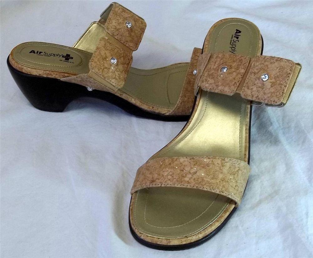"Air Supply Plus 9.5M Tan Faux Cork Rhinestone Gold Insole 2-1/2"" Heel Sandals"
