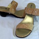 "Air Supply Plus 9.5M Tan Faux Cork Rhinestone Gold Insole 2-1/2"" Heel Sandals"