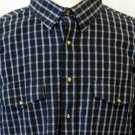 Panhandle Slim Mens XXL Textured LS Navy Light Blue Plaid Check Button Shirt