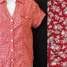 Ninety Small 4 6 Red White Floral Button Front 100% Cotton SS Blouse Top
