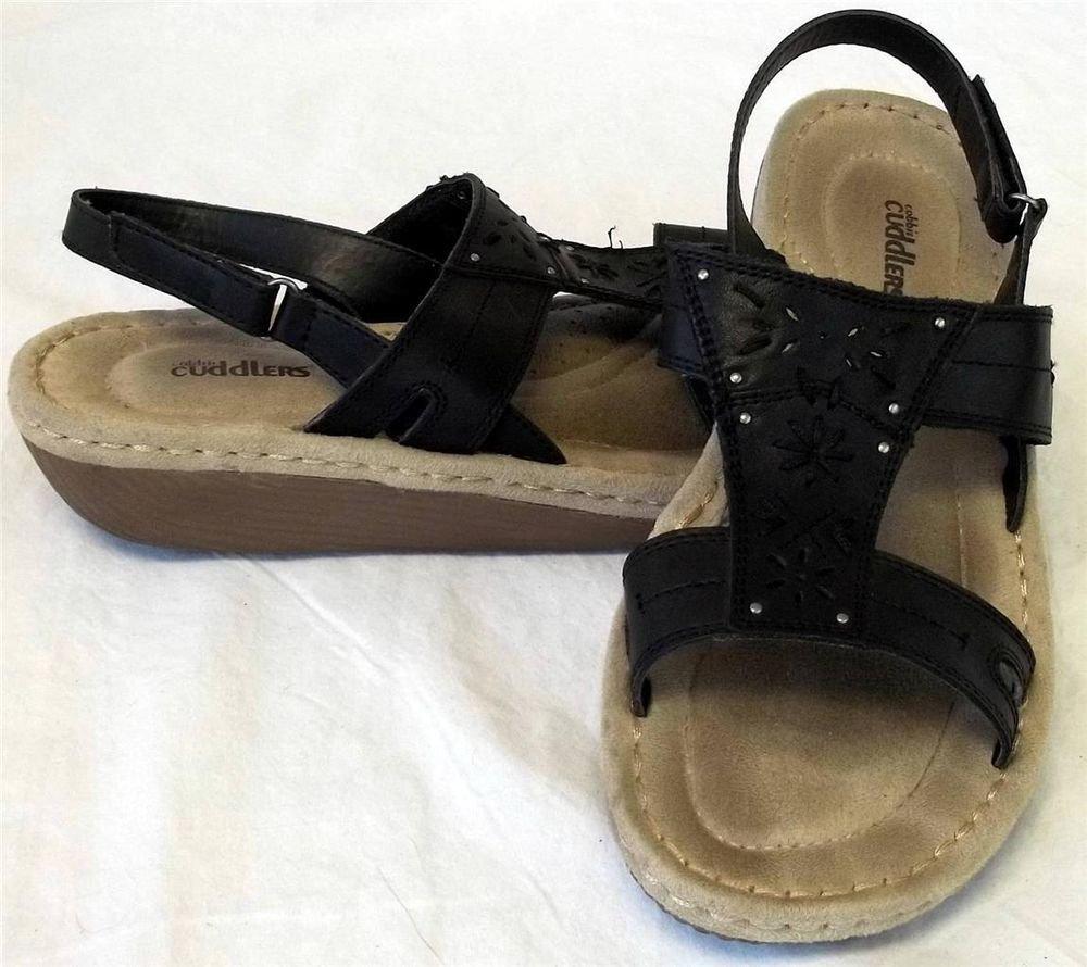 Cobbie Cuddlers 9W MX26 UK 7-1/2 EU 41 Black Leather Tan Buckle Loop Sandal