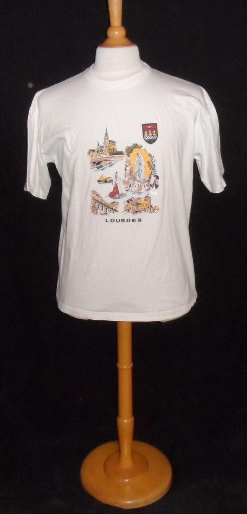 Lourdes France Graphic Souvenir T-Shirt Jamiko  T4 XL Extra Large White