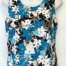 Jaclyn Smith Medium 8 10 Sleeveless Aqua Black Floral Beaded Shell Tank Top
