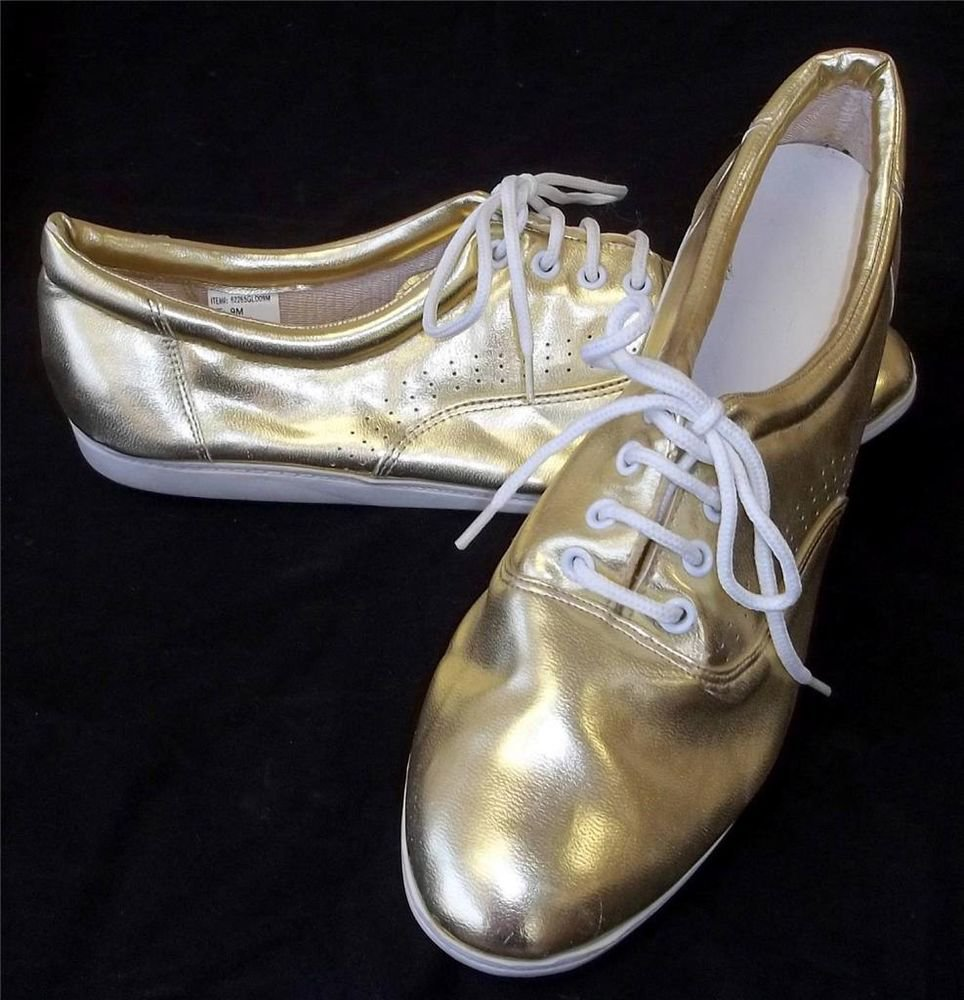 9M B Medium Almond Toe Gold Shiny Lace Up Loafer Sneaker Wedge Comfort Shoes
