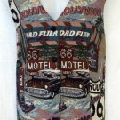 Venezia Jeans 26 28 4X Road Trip Route 66 Button Front V Neck Tapestry Vest