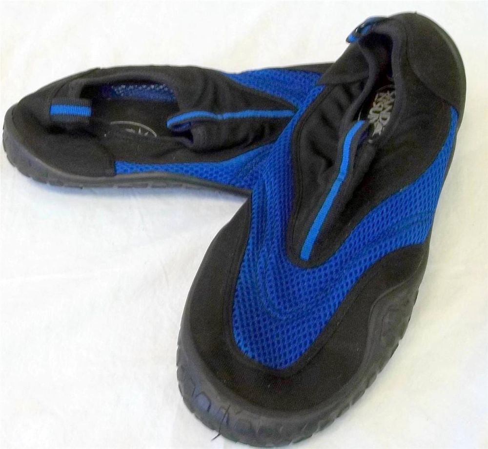 Sand N Sun Men's Sz 10 Blue Mesh Black Rubber Flat Water Shoes Aqua Socks