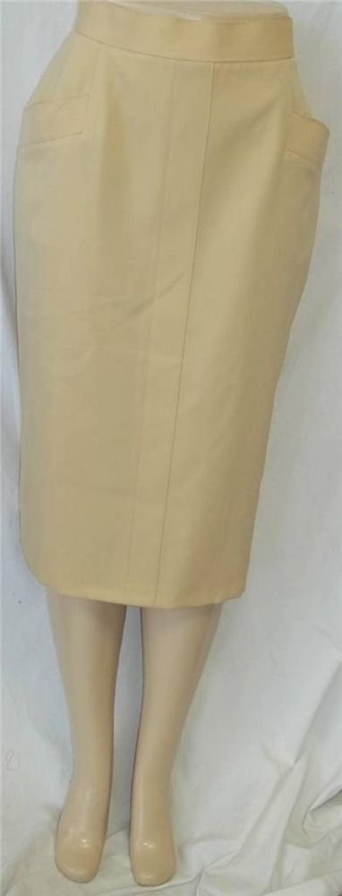 St. Michael 14 Large Pale Yellow Fully Lined Back Vent Front Pocket Pencil Skirt