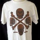 Avirex Large Men's White Brown Black Realistic Skull Design Cotton SS T Shirt