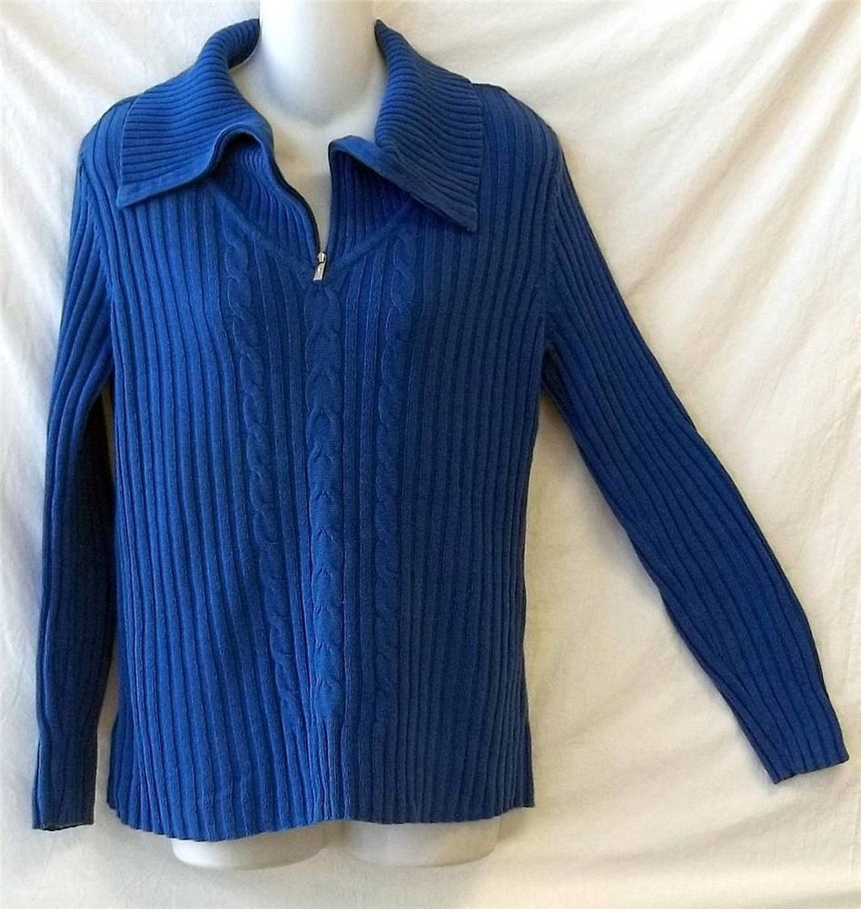 Liz & Co. Large 12 14  Blue Ribbed Zipper Turtle Neck LS Faux Cable Knit Sweater