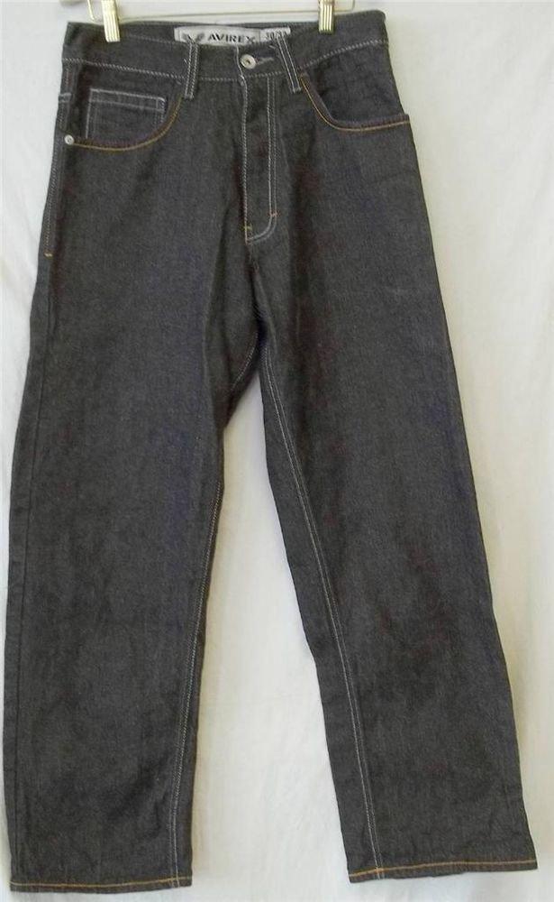 Avirex Men's Cotton W30 L32 Dark Wash Purple Gold Embroidered Blue Jeans Denim