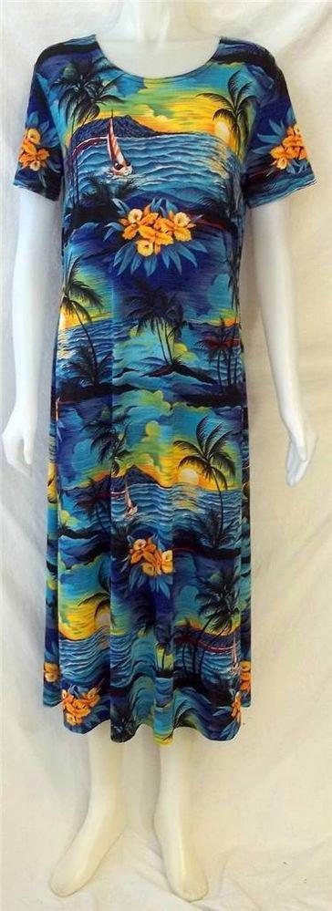 Jostar Medium 8 10 Vintage Blue Yellow Hawaiian Palm Tree Ankle SS Dress Muu Muu