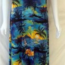 Jostar Medium 8 10 Vintage Blue Yellow Hawaiian Palm Tree Ankle SS Dress Muu Muu