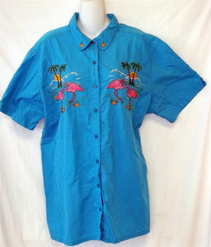 Bobbie Brooks Woman 3X 22W 24W Blue Checkered SS Button Front Summer Blouse