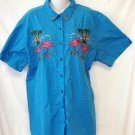 Bobbie Brooks Woman 3X 22W 24W Blue Checkered SS Button Front Summer Blouse